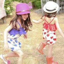 Summer Girls Kid Harem Pants Short Trousers Chiffon Heart Pattern Jumpsuit 2-6Y