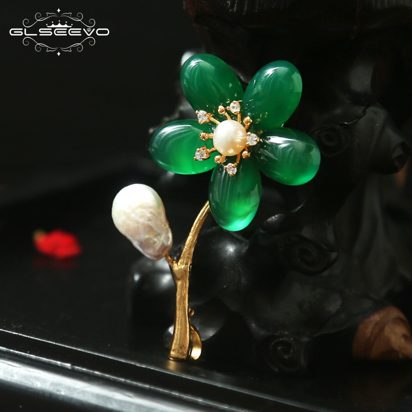 GLSEEVO Natural Green Chalcedon Flower Brooch Pins Pearl Brooches For Women Party Jewelry Dual Use Luxury Fine Jewellery GO0137GLSEEVO Natural Green Chalcedon Flower Brooch Pins Pearl Brooches For Women Party Jewelry Dual Use Luxury Fine Jewellery GO0137