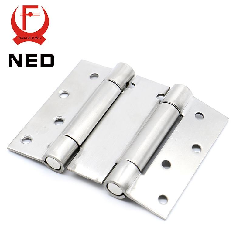 2PCS NED-5101 4 Inch Double Action Spring Door Hinge Stainless Steel Rebound Hinge For Cafe Swing Western Hidden Door Hardware hamlet ned r