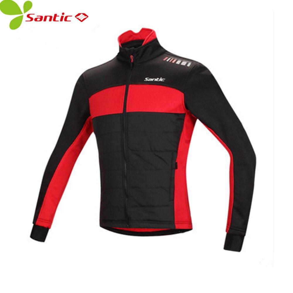 Santic Winter Men's Cycling Jacket Long Sleeve Fleece Men Windproof Cycling Jersey Thermal Fleece full length jackets men