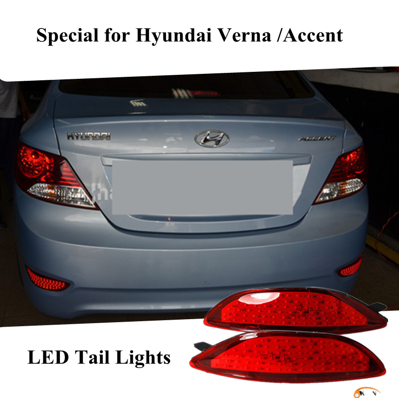 OKEEN For Hyundai Accent / 2011-2015 Hyundai Verna Car Styling led Warning light Tail Lamp Brake Rear Bumper Reflector Light accent verna solaris for hyundai led tail lamp 2011 2013 year red color yz