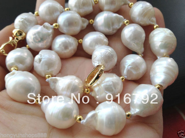 free shipping >>>>>Beautiful 13-18mm white baroque keshi reborn FW pearl necklace 18 цена и фото