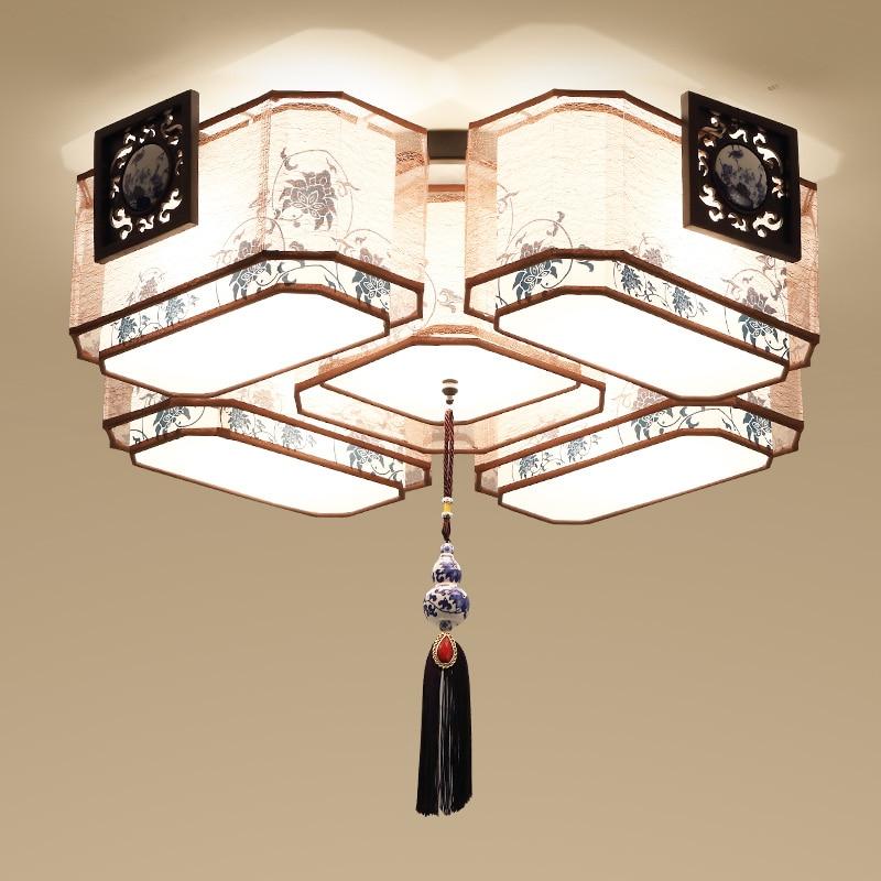 Chinois style Plafond Lumières ambiance lampe de salon rectangulaire salle d'étude chambre moderne bref personnalisé lampes LU71588