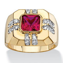 3.6CT Size 8 To 15 Jewelry Red,Navy Blue/Garnet Zircon stones 10KT Man's Gold Filled Ring Wedding Gift(China)
