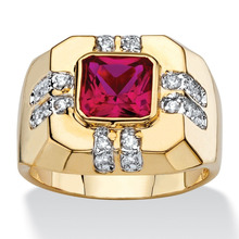 3.6CT Size 8 To 15 Jewelry Red,Navy Blue/Garnet Zircon stones 10KT Man's Gold Filled Ring Wedding Gift