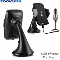 SOONHUA Qi Car Wireless Phone Charger Holder Air Vent Dashboard Suction Mount Quick Car Charging Pad