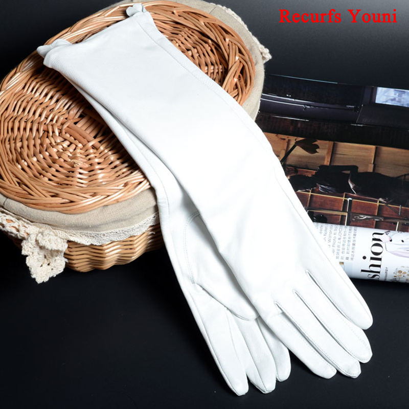 Sale 2019 Spring Women Genuine Leather 30cm/40cm/50cm Long Evening Gloves Female Customized Large 2XL Size Black/Red/White Luvas