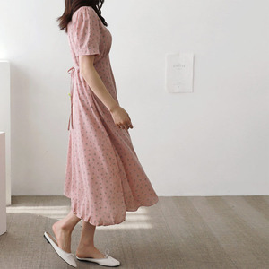 Image 5 - קיץ שיפון שמלות אישה פרחוני חג תאריך חמוד קוריאני יפן סגנון בגדי עיצוב קו קשת עניבת חולצה שמלת ארוך ורוד 603