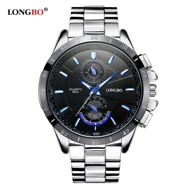 2019 LONGBO Watch Men Luxury Brand Full Stainless Steel Quartz Mens Business Dress Watches Men's Military Sporst Wrist Watches
