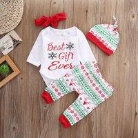0 18M 4PCS Set Kid Newborn Baby Girls Clothes Set Tops Romper Long Pants Hat Outfits
