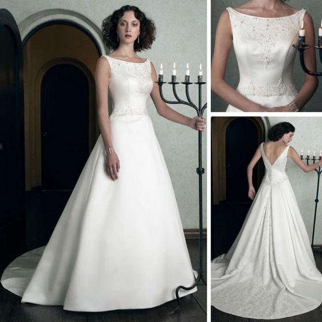 WM091 Real Sample Dress Bateau Neckline Crochet Pattern Wedding ...