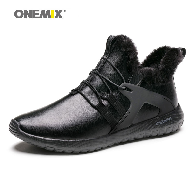 onemix 2019 Waterproof Snow Boots men sneakers leather shoes for walking Walking Outdoor Athletic Comfortable Warm