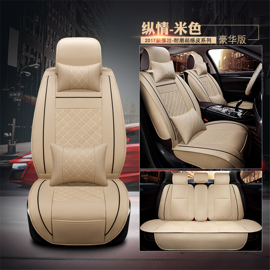 Tamanho M Cremoso Branco Edição de Luxo Auto Car Seat Cover Almofada 5-Assentos Dianteiro + Traseiro PU de Couro Com lombar encosto de cabeça