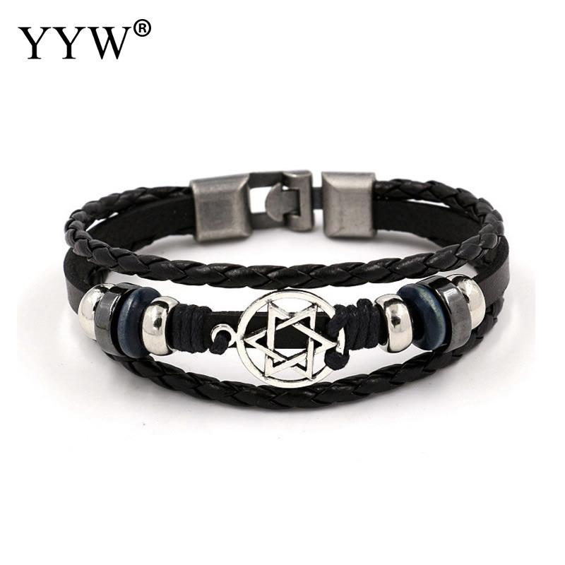 Vintage Multilayer Braid Leather Bracelet Bronze alloy Buckle Classical Style Easy Hook For Men 8.2 Inch 2Strands/Lot