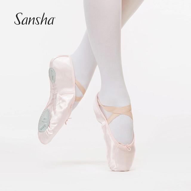 Sansha 2017 New Adult Satin Ballet Soft Dance Shoes Spilt Leather Outsole  Ballet Slippers NO.88S 7df304c2d523