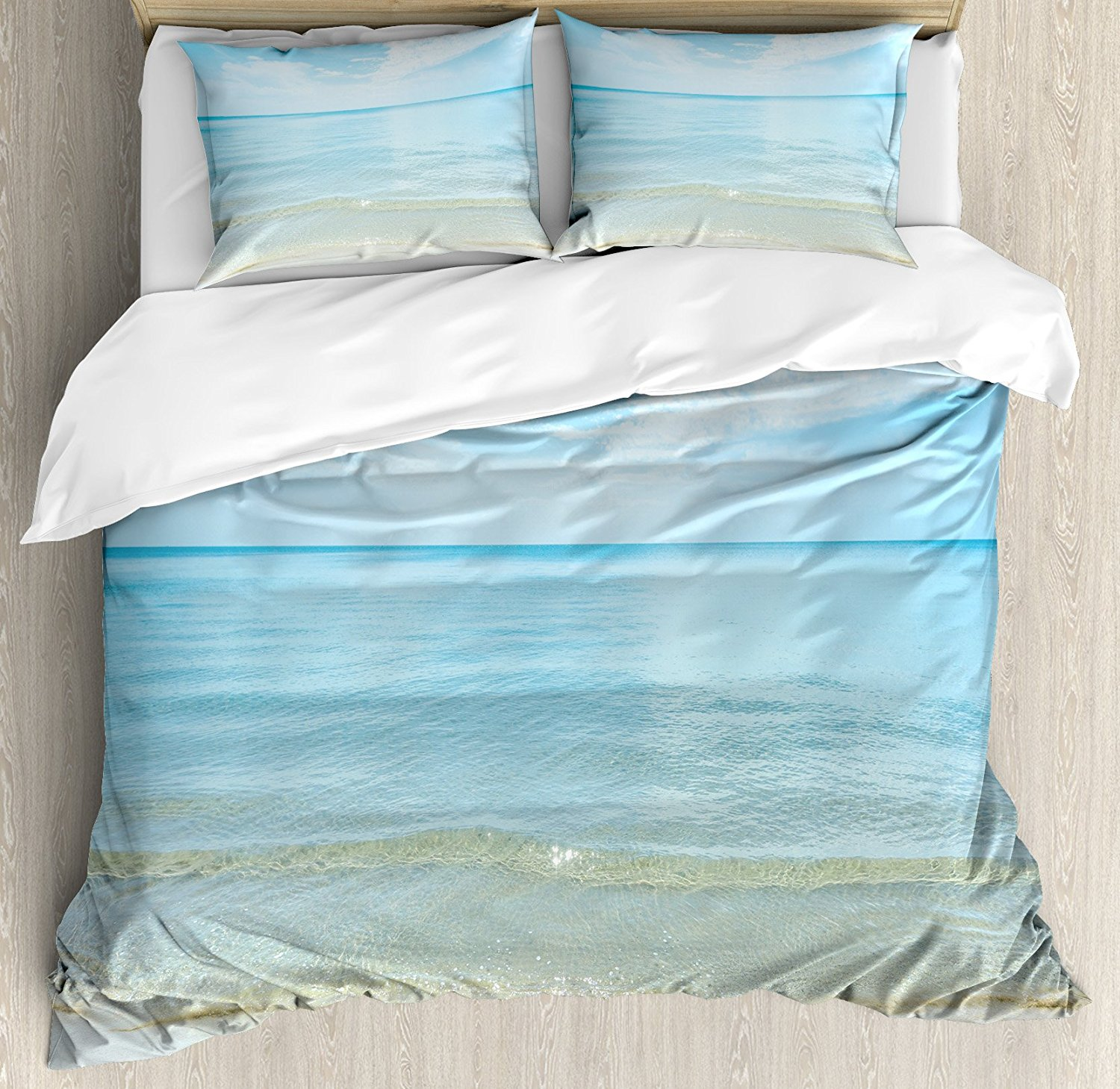 Ocean Duvet Cover Set Sunny Summer Day At The Sandy Beach Tranquil Calm Shore Sea Horizon Image Artprint 4 Piece Bedding Set 4 Piece Bedding Set Duvet Cover Setbedding Set Aliexpress