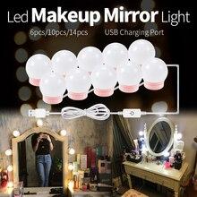 WENNI Mirror LED Lamp USB Vanity Light Makeup Dressing Table Lighting 12V Hollywood Miroir Coiffeuse 2 6 10 14 Bulb