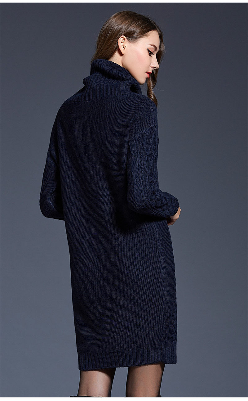 NiceMix 2019 Winter Turtleneck Sweater Dress Women Long Pullovers Female Loose Stretch Knitted Dresses Vestidos Pull Femme in Dresses from Women 39 s Clothing