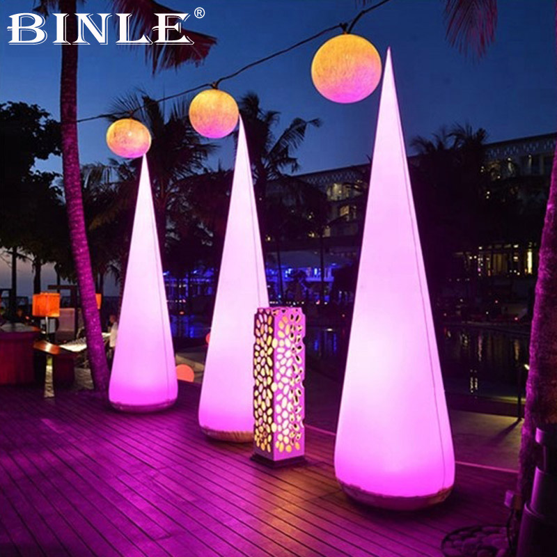 Outdoor 4mH giant colorful air inflatable led lighting cone for wedding party decoration outdoor lighting 2 5m high inflatable lighting tube infaltable lamp post light pole for event party wedding decoration