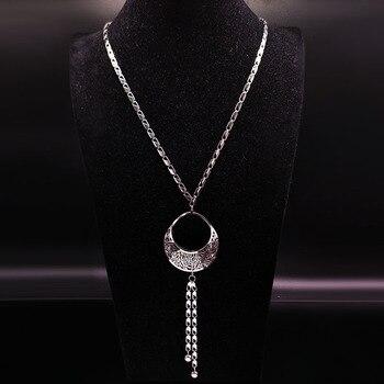 75fdceee841d 2019 cestas de flores de acero inoxidable grandes collares largos para  mujer collar de Color plateado accesorios de joyería mujer N18013