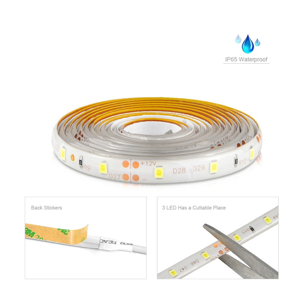 Image 4 - Hand Sweep Sensor LED Strips 110V 220V to 12V Waterproof 1M 2M 3M 4M 5M Motion Sensor Night lights Wardrobe Closet Kitchen lamp-in LED Strips from Lights & Lighting