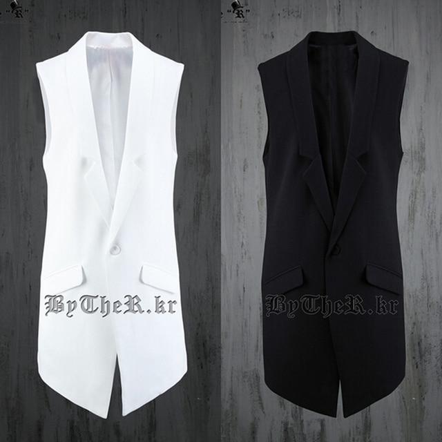 Coreano Causal Magro Preto Branco Masculino Vestido Terno Blazer Sem Mangas Colete Longo Colete Homens Hip Hop Streetwear Urbano Clohthing