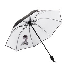 Cute Cat Women Umbrella Creative Cartoon Girl Rain Three-Folding Travel Pocket Parasol
