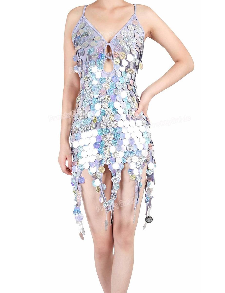 PrettyGuide Women Laser Sequins Backless Hanging Coppers Swing Latin Dance Dress Sexy Ballroom Dress