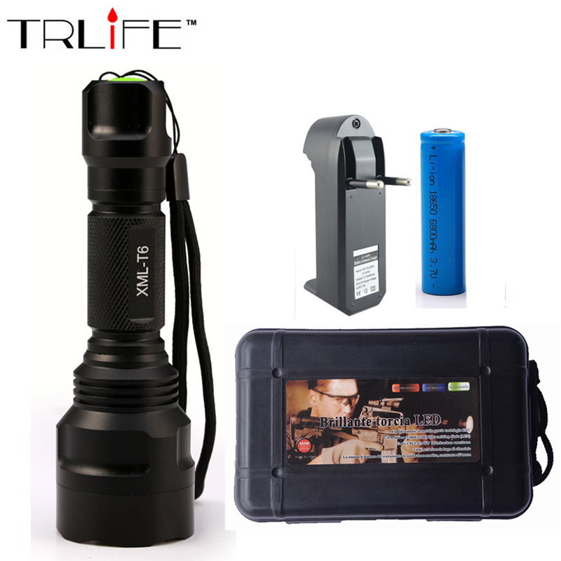 6000 Lumens Flashlight LED CREE XM-L T6 Torch 5 Mode Tactical Flashlight Camping Light + 18650 Battery+Charger klarus xt10 led flashlight 470 lumens cree xm l t6 led 3 mode mini tactical flashlight waterproof flashlight with 18650 battery