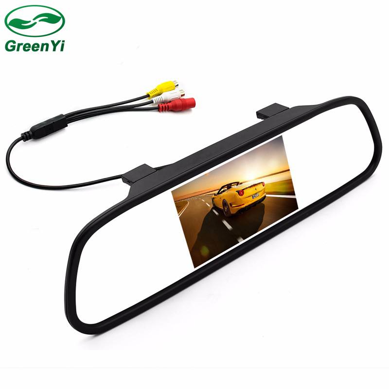 GreenYi 2CH Video Input 4.3 TFT LCD Color Auto Parking Assistance Monitors 4.3 Inch Car Mirror Monitor For Rear View Camera