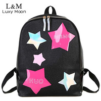 Luxy النجوم القمر الطازجة النساء فتاة المدرسة أكياس الإناث بسيطة بلينغ الأسود pu حقائب جلدية 2018 الليزر XA1031H
