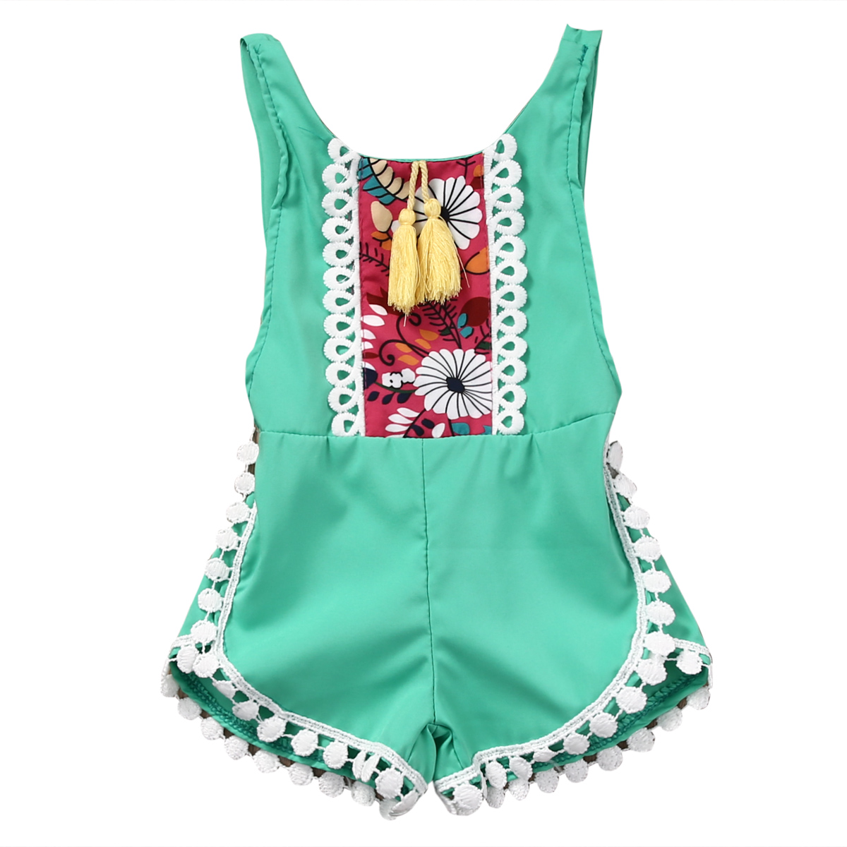 New China Style sleeveless tassel   Romper   Baby girls backless   Romper   Jumpsuit Sports Boy Outfit Unisex Sleeveless   romper   Clothing