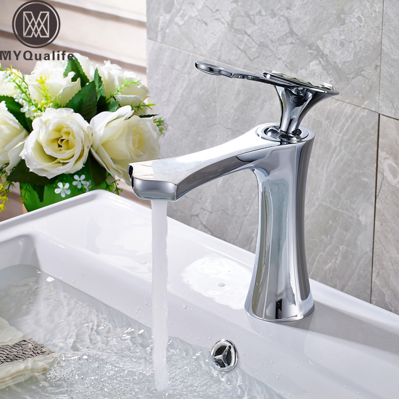 Creative Design Chrome Brass Hot and Cold Bathroom Basin Taps Deck Mounted Washing Mixer Faucet Single Handle One Hole brand new deck mounted chrome single handle bathroom