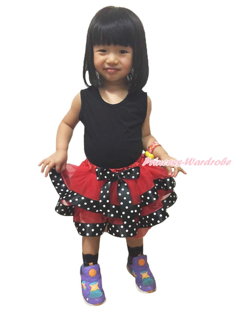 De Halloween Rojo Negro Blanco Dot Punto Satén Recortada Tutu Baby Girl Pettiskirt NB-8Y MADRE0071