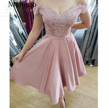 Menoqo 2019 Glamorous Cocktail Dresses Tea Length off the Shoulder Appliques Satin Vestidos de fiesta Formal Dress Short
