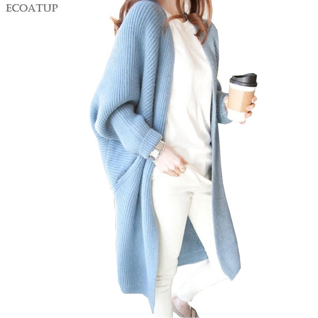 Long Cardigan Sweater Women Autumn Winter Solid Color V-Neck Batwing Sleeve  Knit Open Jacket Thicken Warm Oversize Cardigan 9f655b87b