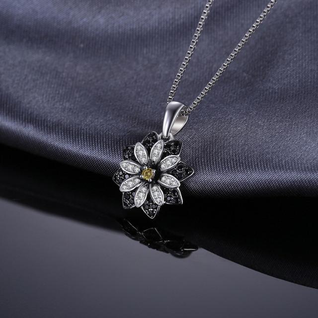 Smoky Black Spinel Flower Necklace