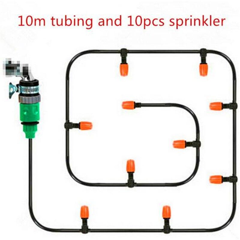 Good quality 10m Tubing 10pcs Misting Sprinkler Watering Kit Home Garden 1pcs quick coupler jk007
