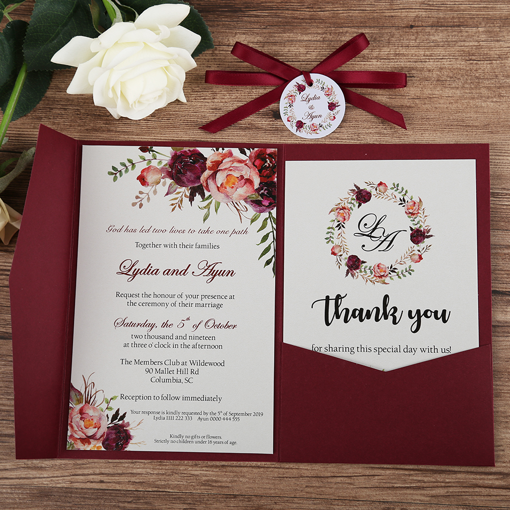 50pcs Wedding Invitations Burgundy Blue Pink Pocket Greeting Cards with Envelope Customized Party with Ribbon and