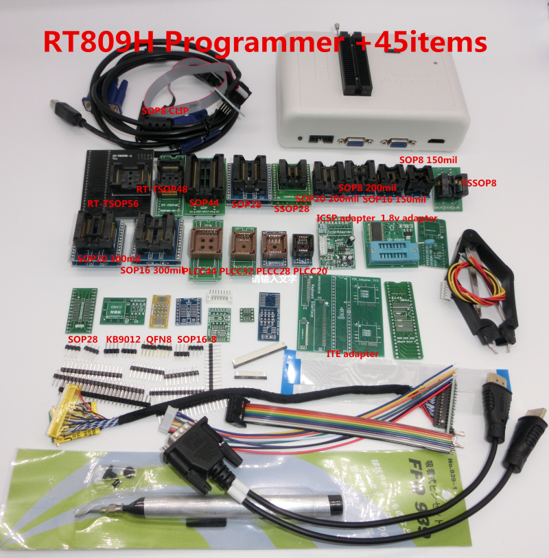 Free Shipping ORIGINAL RT809H+45 Items  EMMC-Nand FLASH Extremely Fast Universal Programmer
