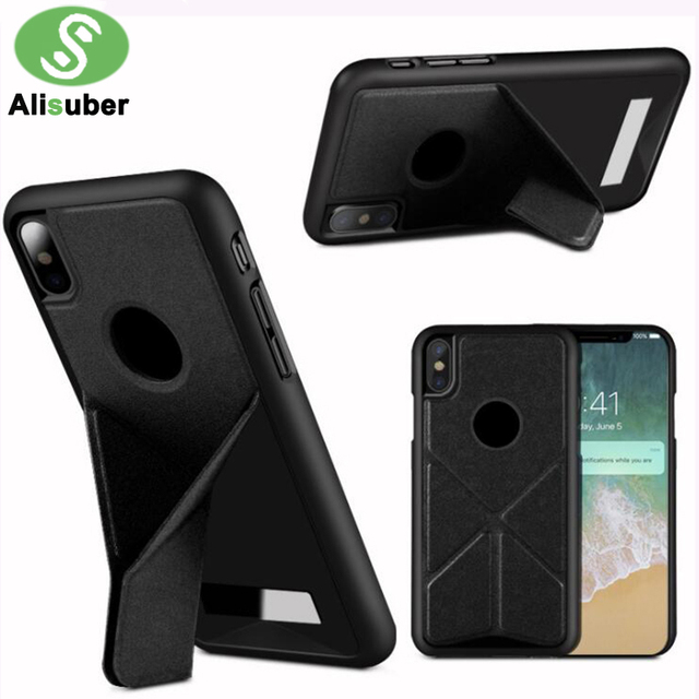 quality design b7f15 d9b08 US $6.15  Alisuber Folding Transformer Phone Case For iphone X Shockproof  PC+PU Leather Back Cover For iphone X Case With Stand Holder-in Fitted  Cases ...
