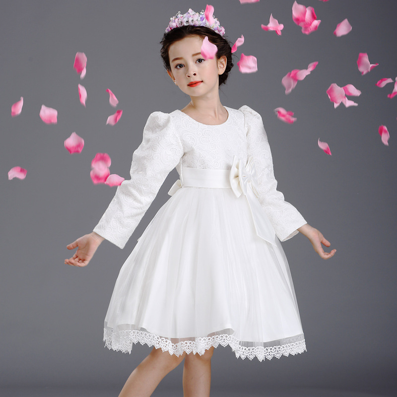 Autumn Princess Party White Wedding Dresses Children Ruched Bow Pattern Long Sleeve Prom Dresses Cloth 4 6 8 10 12 Years Vestido new autumn girls flower dress long sleeve with bow belt princess children bridemaid dress wedding 4 10 years party prom cloth