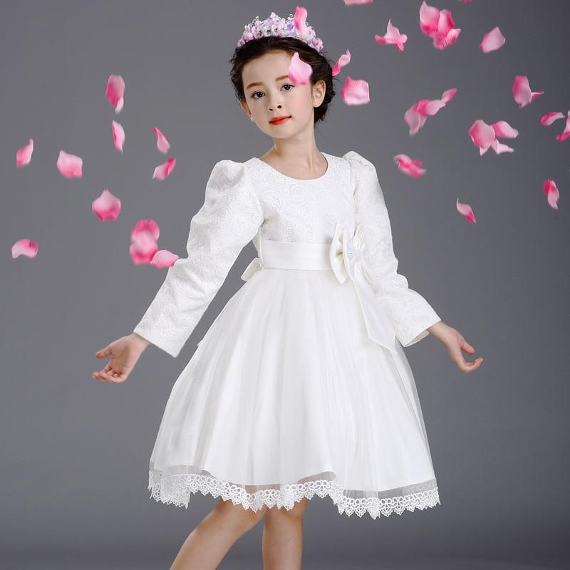 Jesen Princess Party Bijela vjenčanica Djeca Ruched Bow Uzorak s - Dječja odjeća