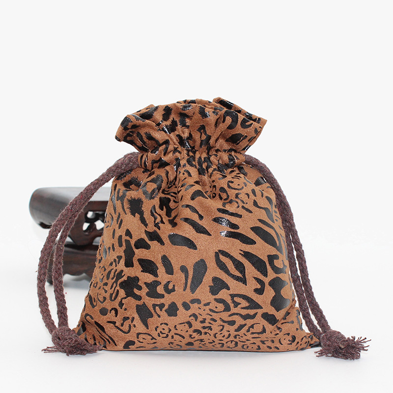 13*16cm Leopard Suede Drawstring Bag Pouch Packaging Wedding Decor Ornaments Jewelry Pouch Bag