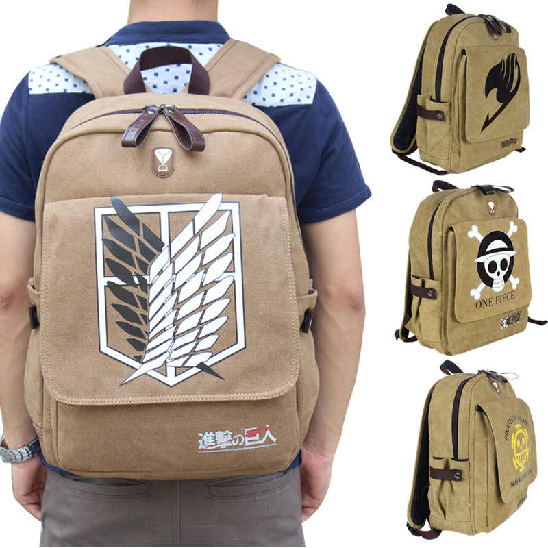Attack on Titan Anime Backpacks Cosplay Props Canvas School Bag Trafalgar Law Unisex Laptop Back Pack ONE PIECE Bags