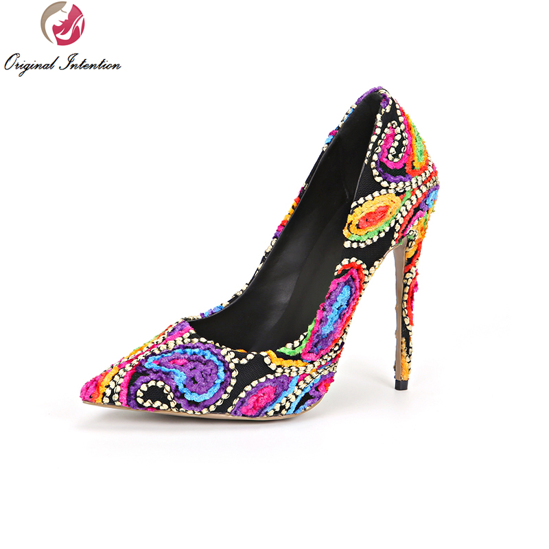 Original Intention Stylish Women Pumps Nice Pointed Toe Thin Heels Pumps Multicolors Shoes Woman Plus US Size 3.5-10.5