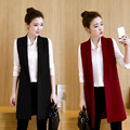Zewo Long Vest Jacket Women Sleeveless Blazer Femenino Autumn Slim Cardigan Coats Veste Femme Ladies Outwear Waistcoat Plus Size