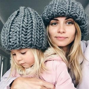 Image 2 - Winter Pink Woolen Knit Women Beanies Hats Cap Fashion Unisex Spring Autumn Solid Coarse Yarn Warm Knitted Men Skullies Cap Hat