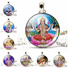 Indian Buddhism Ganesha Shiva Picture Glass Cabochon Pendant Silver Plated Long Choker Sweater Chain Necklace Gift for Women(China)