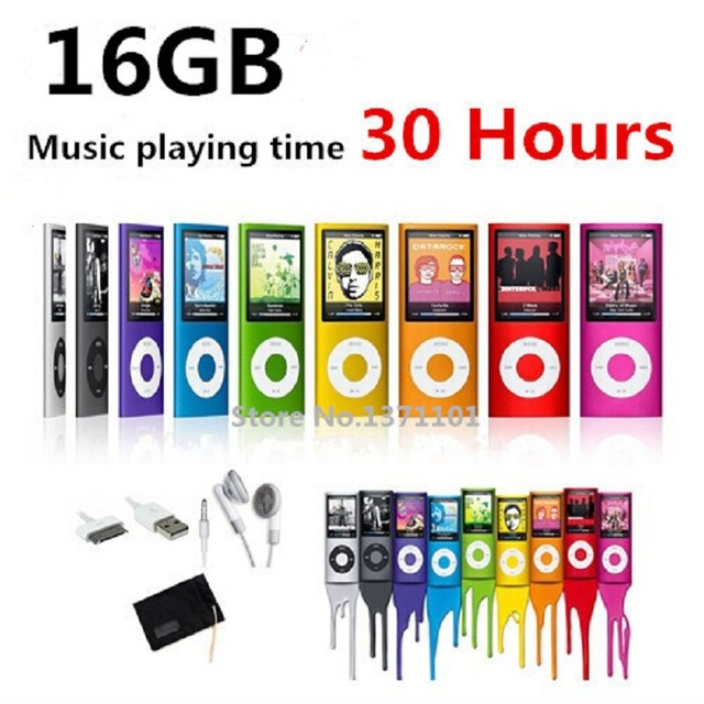 High quality battery mp4 player 16gb 9 Colors for choose Music playing time 30 hours FM radio video player + Gift bag